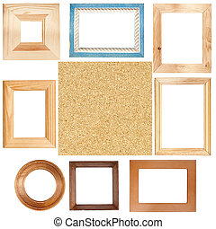 Wooden frames and cork board texture - Big size set of...