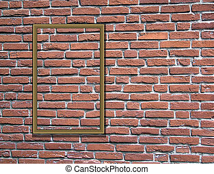 Wooden frames on brick wall