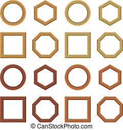 Wooden frames, set - Set of empty wooden frames, different...