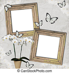 Wooden frames with butterfly and orchids on grange...