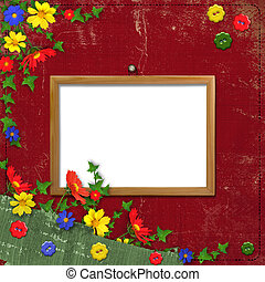 Wooden framework for portraiture on the abstract background with flowers