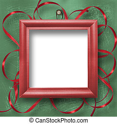Wooden framework for portraiture on the abstract background with ribbon
