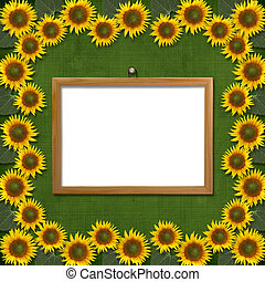 Wooden framework for portraiture on the abstract background with sunflowers