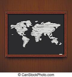 Wooden framework with world map. Vector illustration.