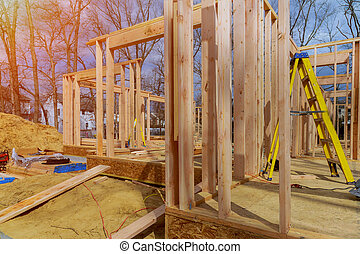 Wooden framing of a home, full frame new construction of a new house framing of a home, full frame