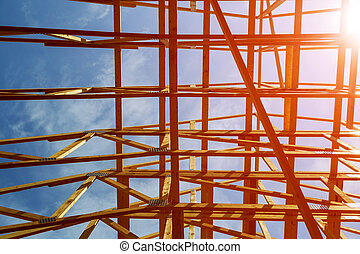 Wooden framing of a home, full frame Roofing construction. Wooden construction