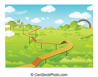 Wooden freeways over forest - This illustration is a common...