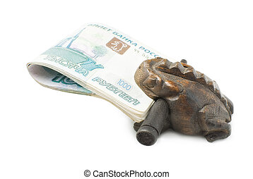 Wooden frog and money | Isolated