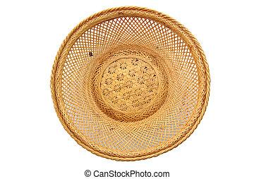 fruit basket - wooden fruit basket isolated on white