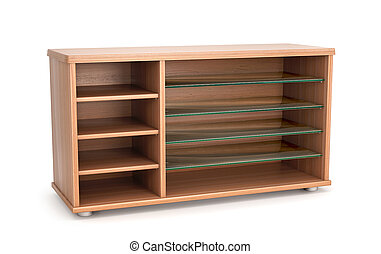 Wooden furniture. Cabinet bedside table with glass shelves isolated on a white background. 3d illustration