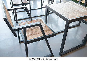 Wooden furniture in industrial style