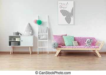 Wooden furniture in kid room - Modern wooden furniture in...