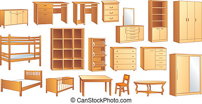 Wooden furniture set vector illust - Various furniture:...
