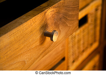 Wooden furniture - Detail of wooden furniture with drawers