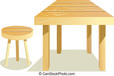 Table and stool - Wooden Furniture. Table and stool