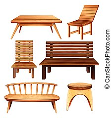 Wooden furniture - Wooden chairs and table in classic design