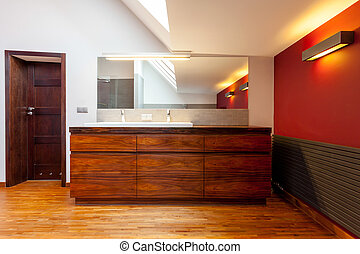 Wooden furnitured bathroom