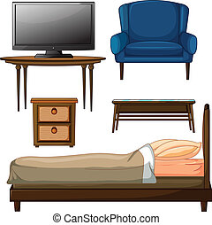 Wooden furnitures - Illustration of wooden furnitures on a...