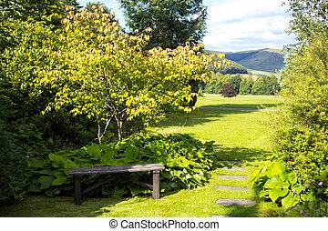 Wooden garden bench with green grass