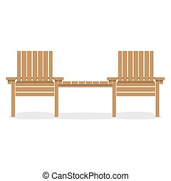 Wooden Garden Chairs With Table.
