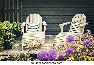 Wooden garden loungers