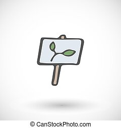 Wooden garden plant sign. Vector illustration