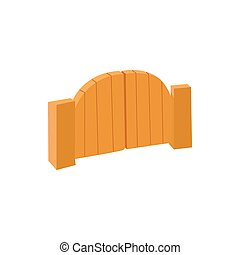 Wooden gate icon in cartoon style