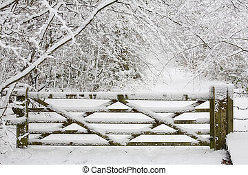 Wooden gate in snow - Traditional wooden gate covered in...