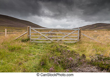 Wooden gate in the Scottish Highlands