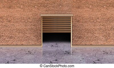 Brown wooden gate shutter lifts up showing dark space in brick wall inside modern storehouse with grey marble floor