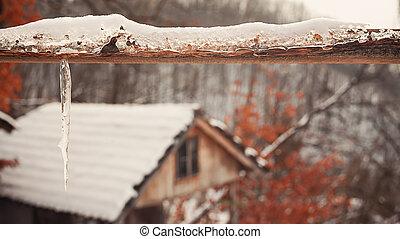 Wooden Gate Under Snow