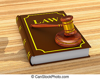 wooden gavel and book on white background. Isolated 3D ...