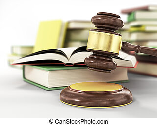 wooden gavel and books on wooden table, on grey background