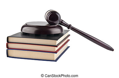 wooden gavel and books