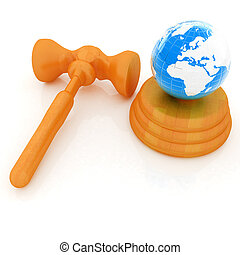 Wooden gavel and earth isolated on white background. Global auction concept