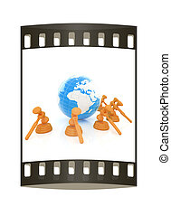 Wooden gavel and earth isolated on white background. Global auction concept. The film strip