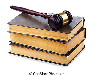 Wooden gavel and old books