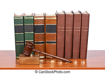 Wooden gavel and old law books - Wooden gavel from the court...