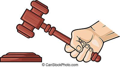 wooden gavel in hand