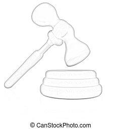 Wooden gavel isolated on white background
