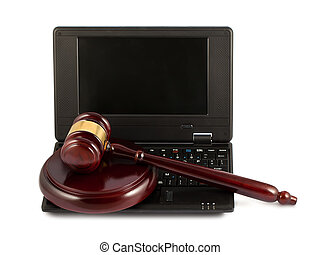 wooden gavel, képben látható, egy, laptop billentyűzet