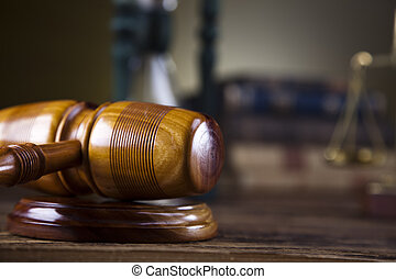 Wooden gavel, law concept