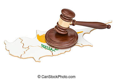 Wooden Gavel on map of Cyprus, 3D rendering