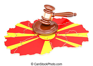 Wooden Gavel on map of Macedonia, 3D rendering isolated on...