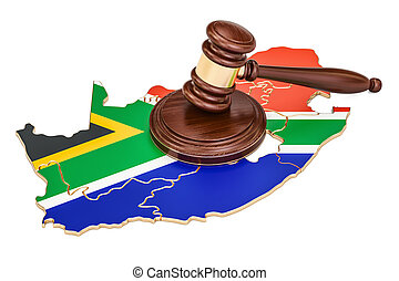 Wooden Gavel on map of South Africa, 3D rendering