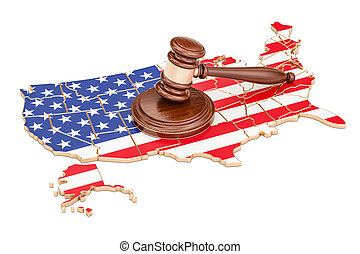Wooden Gavel on map of USA, 3D rendering isolated on white...