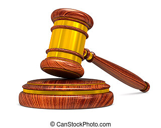 wooden gavel on white background. Isolated 3D illustration