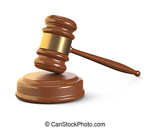 Wooden Gavel on White Background - Wooden gavel with brass...