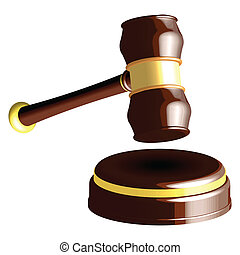 wooden gavel vector against white background; abstract...