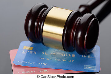 Wooden Gavel With Credit Card